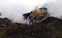 Тушение пожара на территории МП Бишкекзеленхоз