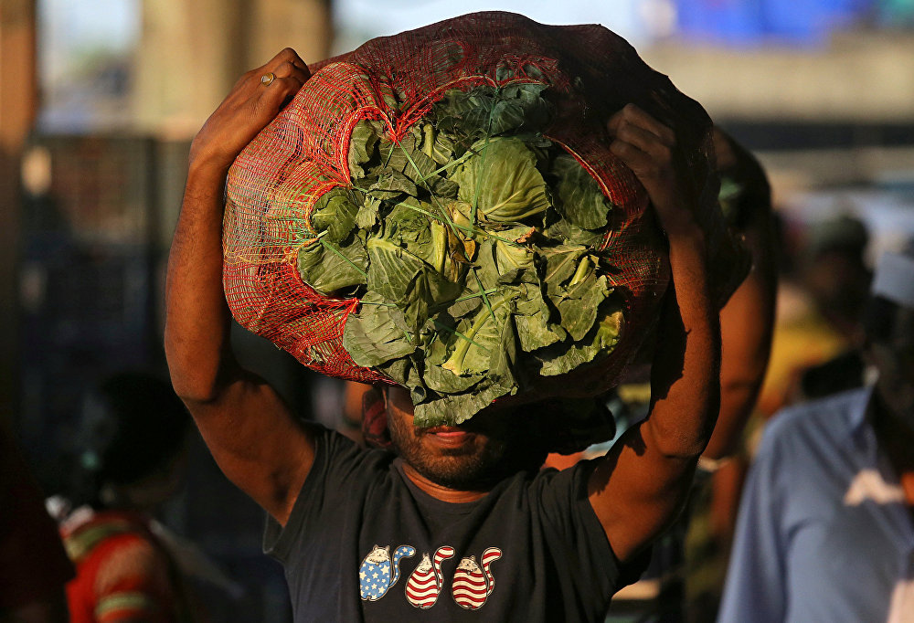 Индиянын Мумбаи шаарында капуста салынган капты көтөрүп бараткан киши