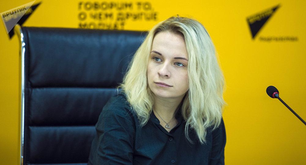 Шеф-редактор Дирекции мультимедийных центров Sputnik Маргарита Некрасова во время пресс-конференции