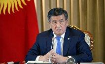 Президент Кыргызской Республики Сооронбай Жээнбеков во время первой пресс-конференции президента Сооронбая Жээнбекова по итогам 2018 года. 19 декабря, 2018 года
