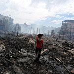 Пожар в бразильском городе Манаус