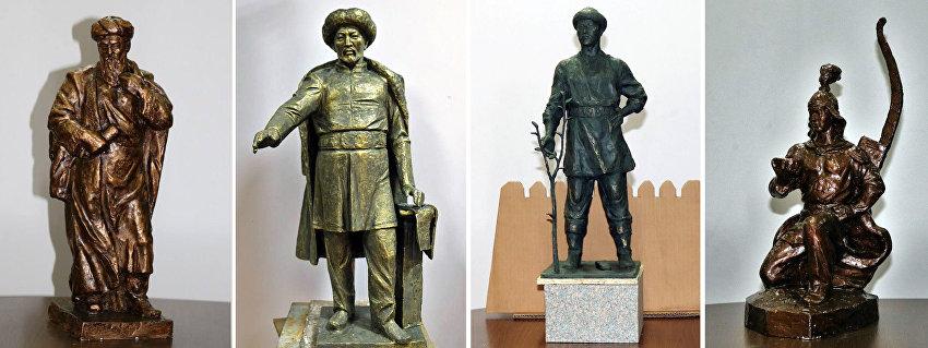 Коллаж из скульптурок памятника Бишкек Баатыру