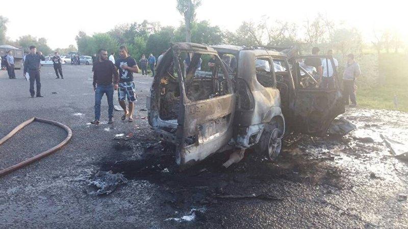 Последствия ДТП на автодороге Бишкек — Кордай
