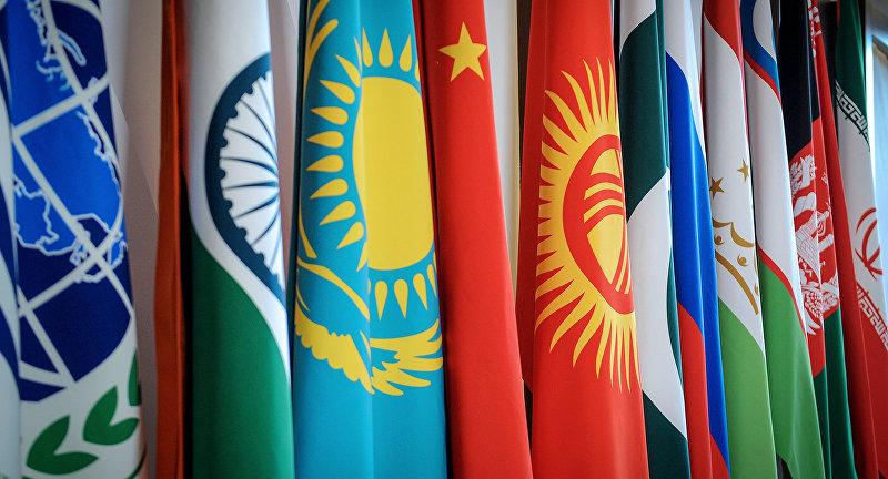 Флаг стран государств-членов Шанхайской организации сотрудничества (СГП ШОС) в заседании Совета глав правительств в Сочи