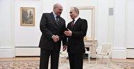 Президент РФ Владимир Путин и президент Белоруссии Александр Лукашенко во время встречи.