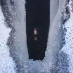 Частично замерзшее озеро в Китае