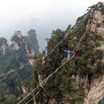 Cоревнования по слэклайну в китайских горах Хуаншичжай