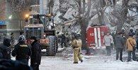 Магнитогорск шаарындагы газ жарылган үйдүн урандылары