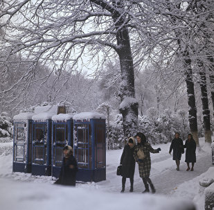 На улице города зимой