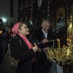 Некоторые бишкекчане отмечают праздник в храме семьями