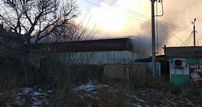 Пожар в складе в селе Лебединовка Чуйской области