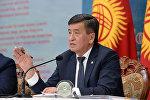 Президент Кыргызстана Сооронбай Жээнбеков на встрече с жителями Сокулукского района Чуйской области