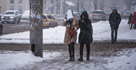 Девушки идут во время обильного снегопада в Бишкеке. Архивное фото