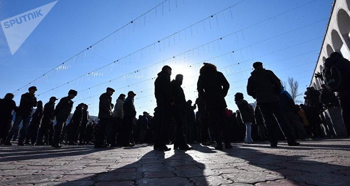 Митинг против незаконной миграции на площади Ала-Тоо в Бишкеке