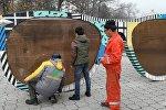 Ремонт инсталляции Очки на Аллее молодежи в Бишкеке