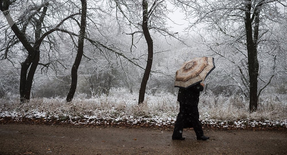 Снегопада в поселке Научный