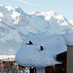 Сильный снегопад в Верфенвенге. Австрия