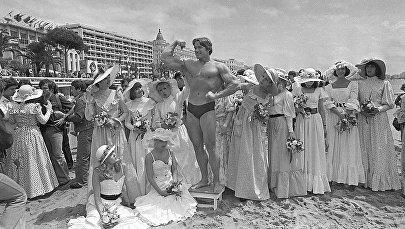 Бодибилдер и актер Арнольд Шварценеггер. 1977 год