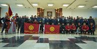 Встреча игроков сборной Кыргызстана по футболу в аэропорту Манас
