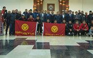 Встреча игроков сборной Кыргызстана по футболу