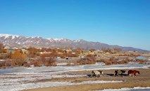 Вид на село Кызыл-Добо в Кочкорском районе. Архивное фото