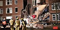 Разрушенный из-за взрыва фасад дома в Гааге, Нидерланды, 27 января 2019 года