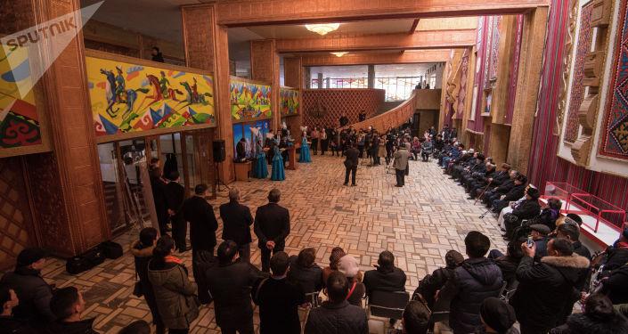 Открытие музея кыргызскому силачу Кожомкулу Каба уулу в одноименном дворце спорта в Бишкеке