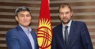Президент Федерации футбола Кыргызстана Канатбек Маматов и главный тренер национальной сборной Александр Крестинин