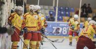 Спортсмены сборной Кыргызстана во время игры на кубке вызова Азии по хоккею с шайбой. Архивное фото