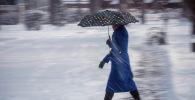 Девушка с зонтом идет по одному из улиц Бишкека во время снегопада. Архивное фото