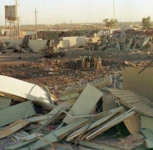 Иракский город после ракетного обстрела. Ирано-иракская война. Архивное фото