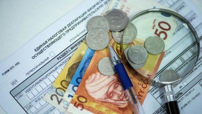 Монеты и купюры на единой налоговой декларации в Кыргызстане. Архивное фото
