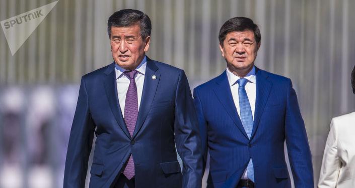 Президент Сооронбай Жээнбеков и премьер-министр Мухаммедкалый Абылгазиев. Архивное фото