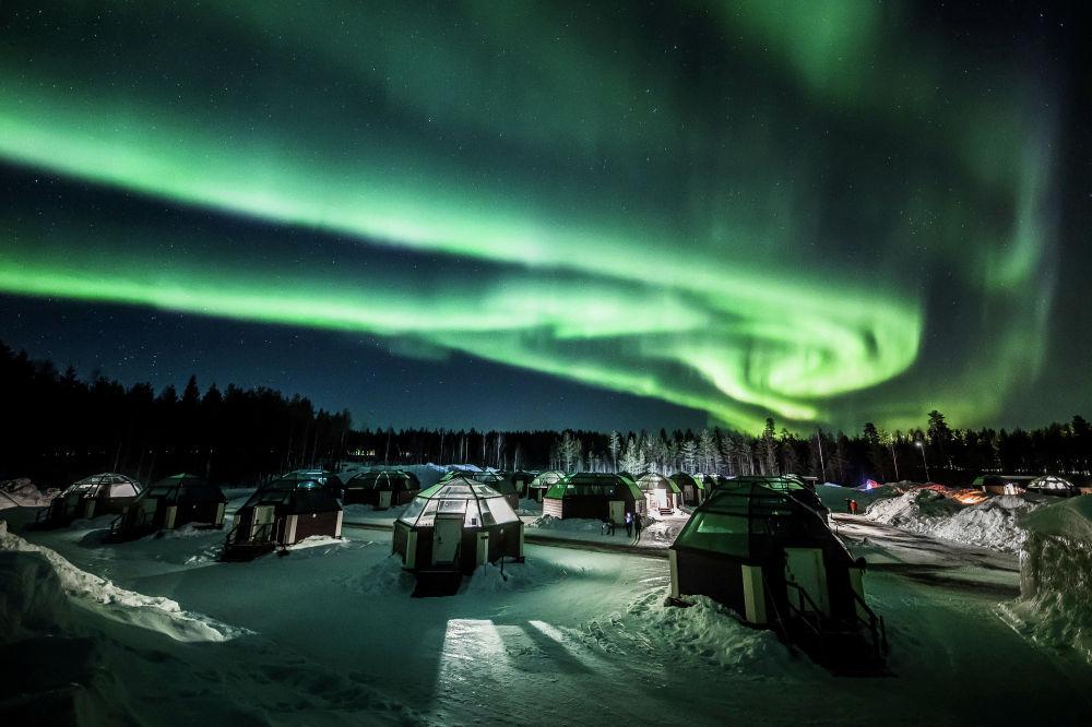 Рованиеминин (Финляндия) асманындагы түндүк уюл жаркырагы