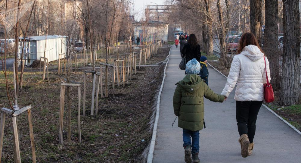 Женщина с ребенком идут по тротуару на одной из улиц Бишкека. Архивное фото