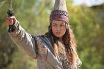 Актриса в роли легендарной царицы массагетов Томирис на съемках фильма Томирис