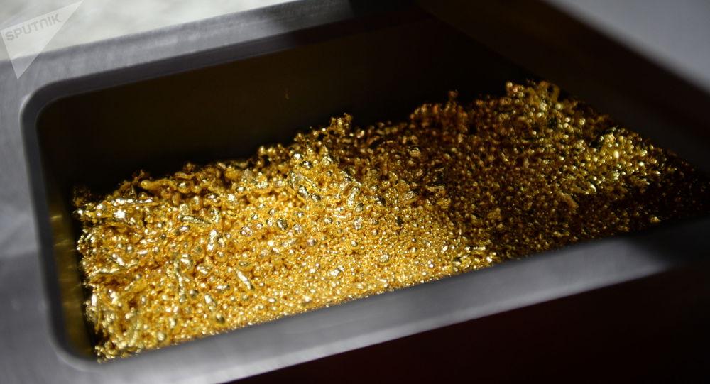 Форма с сырьем для производства золотых слитков. Архивное фото