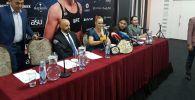 Чемпионка UFC Валентина Шевченко выступает на пресс-конференции в Бишкеке