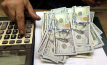 Человек считает количество долларов США. Архивное фото