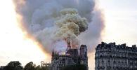 Дым от пожара над собором Парижской Богоматери