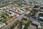 Пересечение улиц Курманжан-Датки и Гапара Айтиева города Ош с высоты. Архивное фото