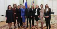 Президент РФ Владимир Путин во время встречи с выпускниками второго потока программы развития управленческого кадрового резерва.
