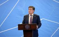 Президент Кыргызской Республики Сооронбай Жээнбеков во время выступления на первом телекоммуникационном форуме, который проходит в городе Ош. 22 апреля, 2019 года