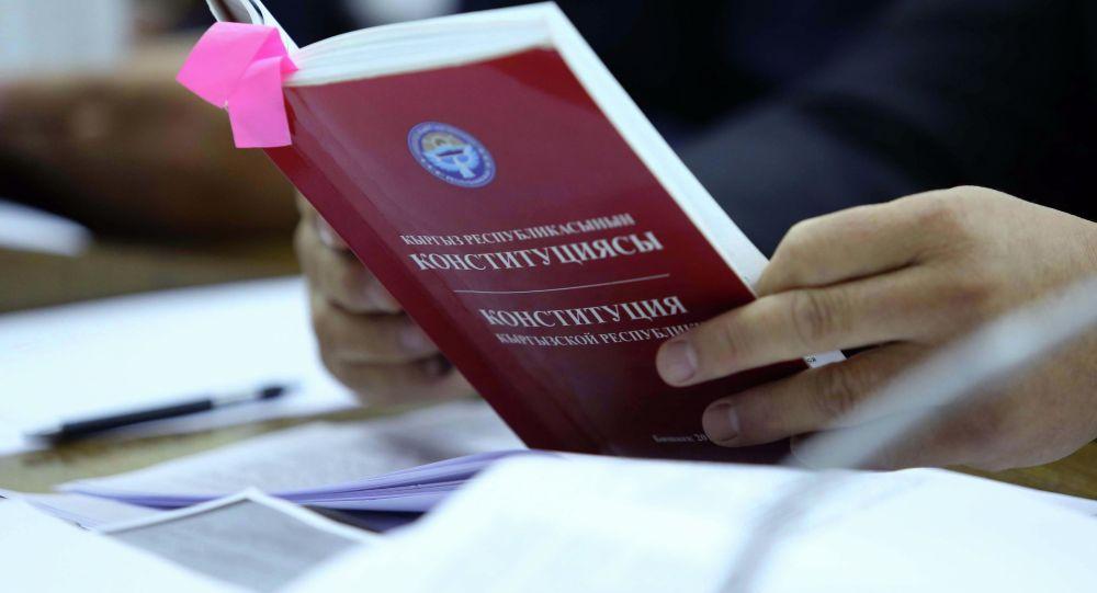 Депутат держит конституцию Кыргызстана. Архивное фото