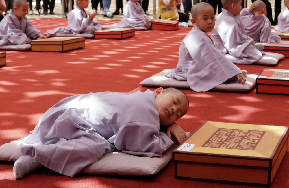 Мальчики в сеульском храме Джогье, обритые наголо на церемонии в честь Дня рождения Будды.