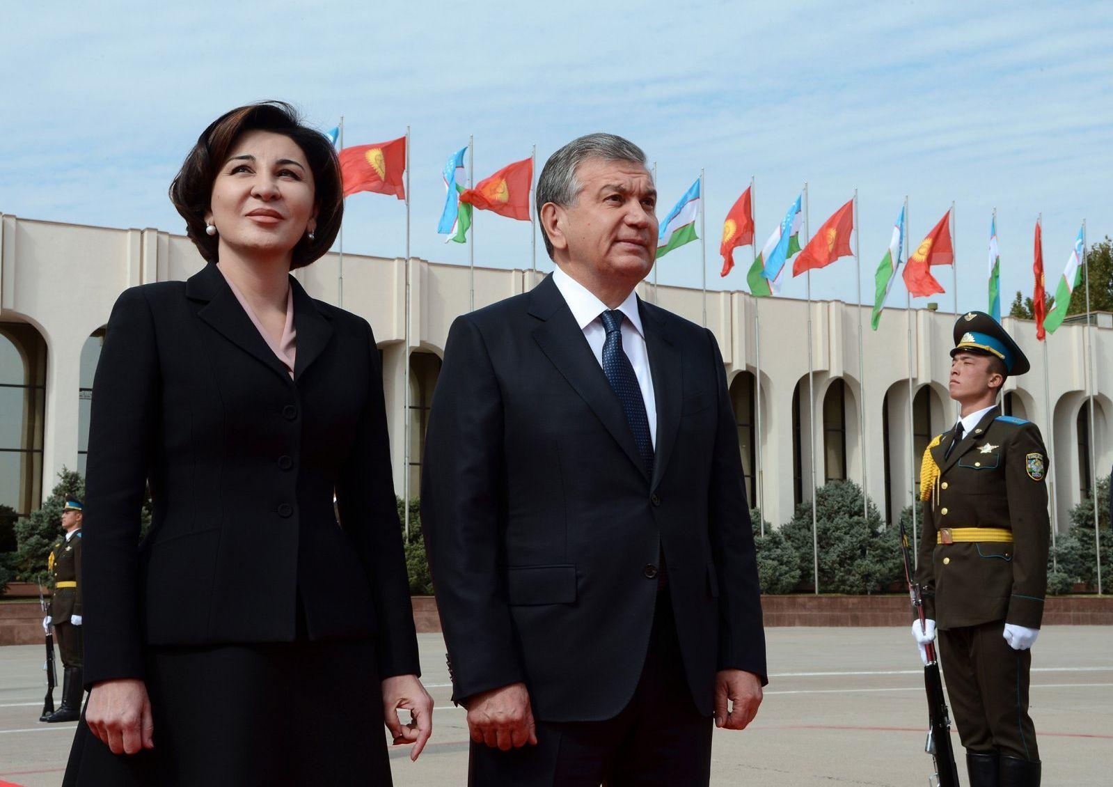 Глава Узбекистана Шавкат Мирзиёев и первая леди Узбекистана Зироатхон Хошимова