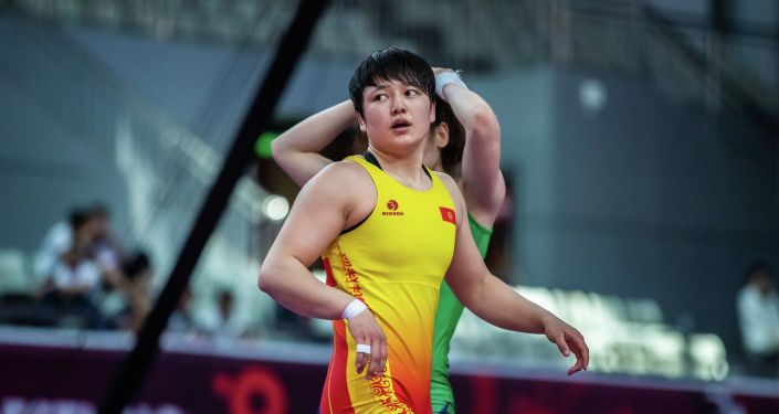 Спортсменка из Кыргызстана Мээрим Жуманазарова во время чемпионата Азии по женской борьбе в Синае