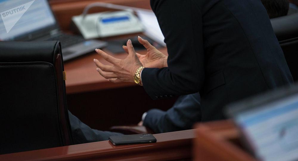 Жогорку Кеңеште отурумда отурган депутат. Архивдик сүрөт