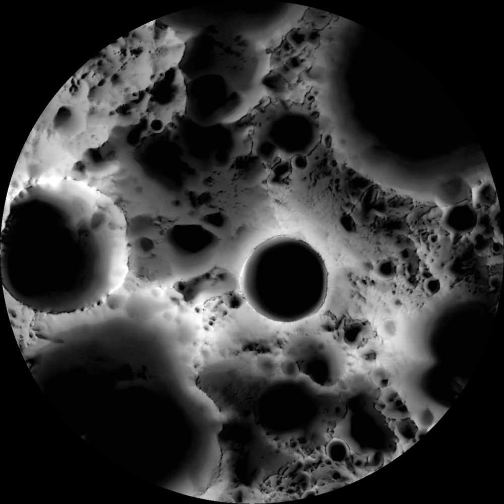 Карта освещения Южного полюса Луны