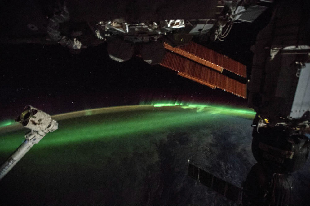С МКС, которая была над Индийским океаном, сняли южное сияние